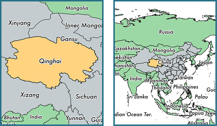 Location of province of Qinghai on a map