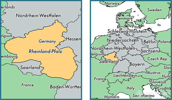 Location of state of Rhineland-Palatinate on a map