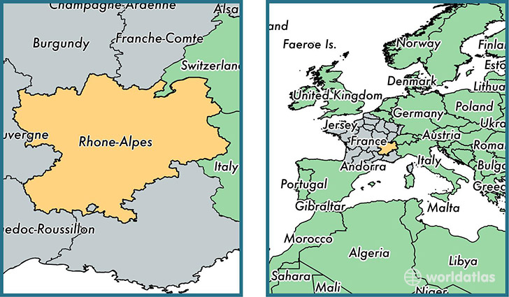 Where is RhoneAlpes metropolitan region Where is RhoneAlpes