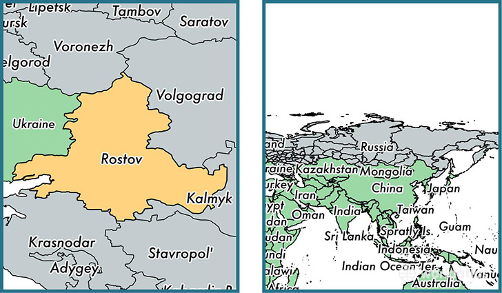 Location of administrative region of Rostov Oblast on a map