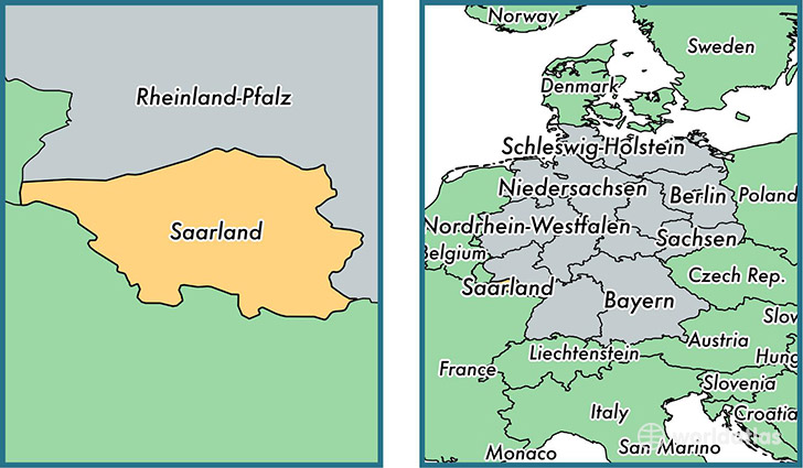Location of state of Saarland on a map