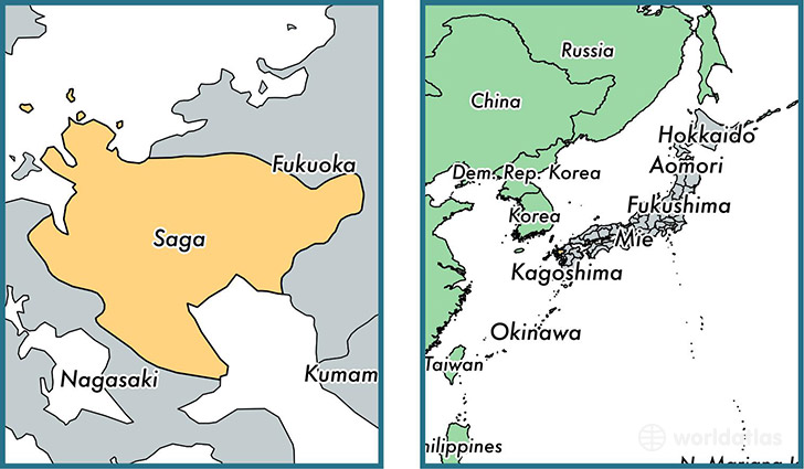 Location of prefecture of Saga on a map