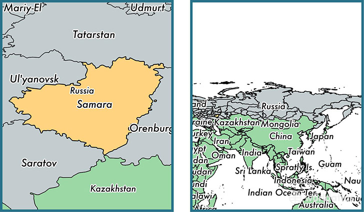 Location of administrative region of Samara Oblast on a map
