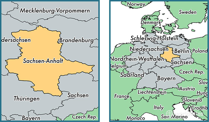 SaxonyAnhalt state Germany Map of SaxonyAnhalt DE Where is