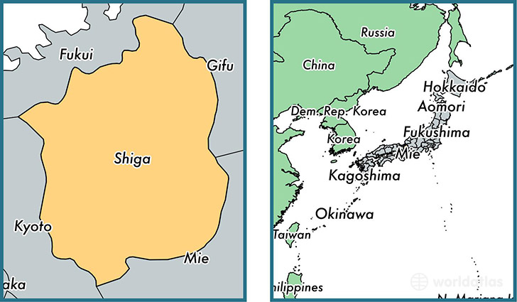 Location of prefecture of Shiga on a map