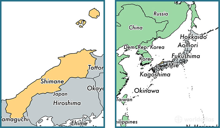 Location of prefecture of Shimane on a map