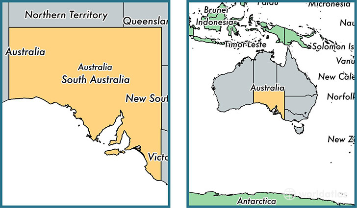 Location of state of South Australia on a map