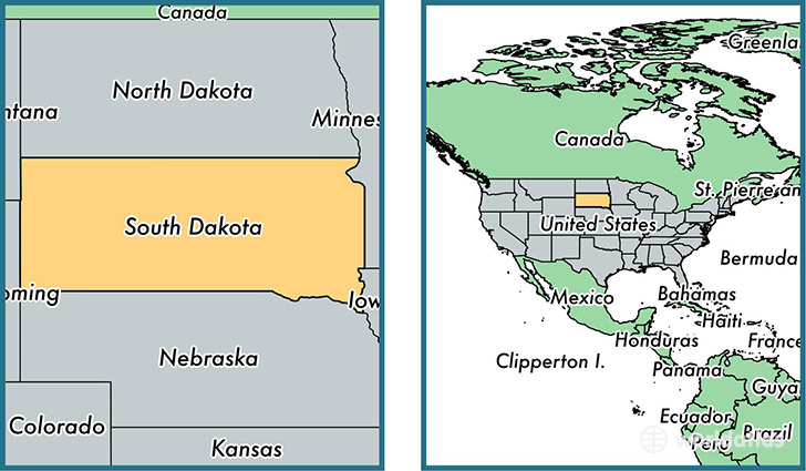 Location of state of South Dakota on a map