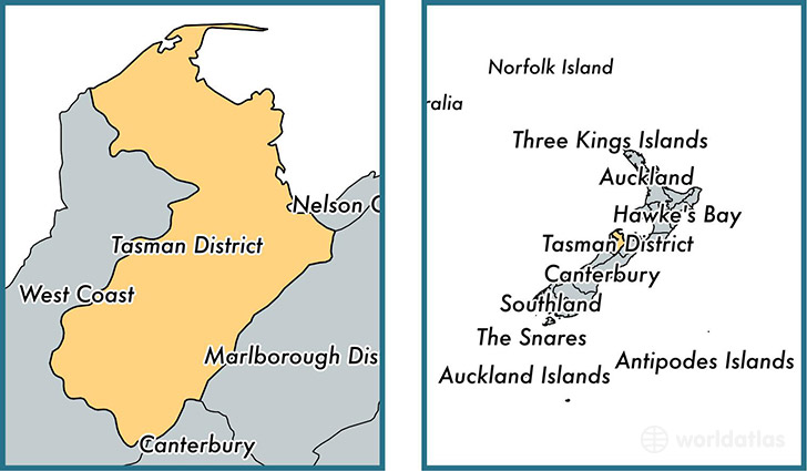 Location of unitary authority of Tasman District on a map