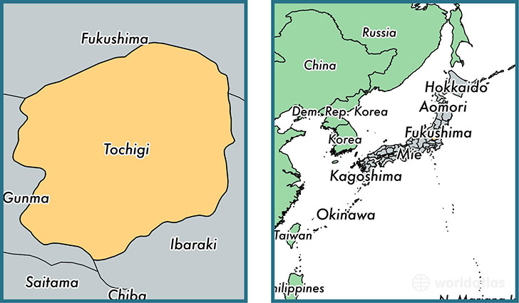 Location of prefecture of Tochigi on a map