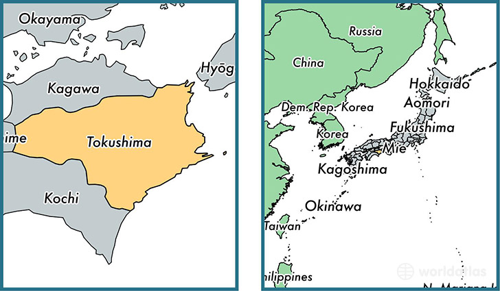 Location of prefecture of Tokushima on a map