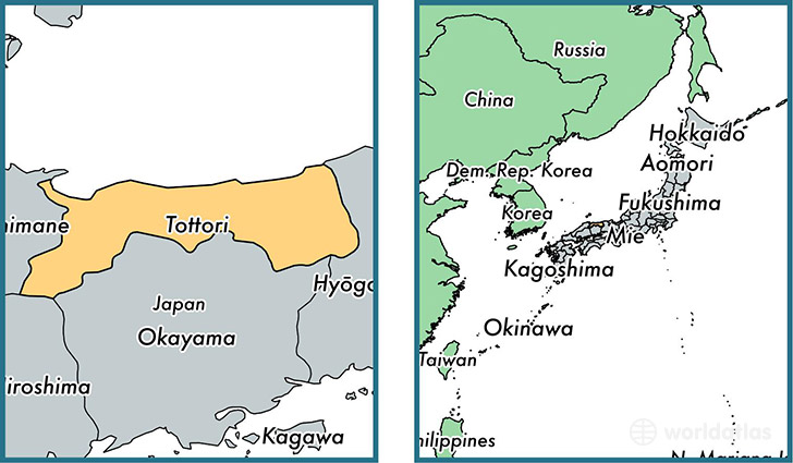 Location of prefecture of Tottori on a map