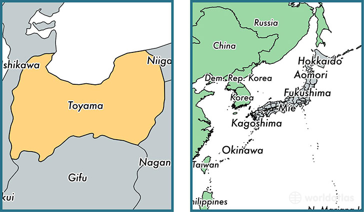 Location of prefecture of Toyama on a map