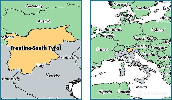 Location of region of Trentino-South Tyrol on a map
