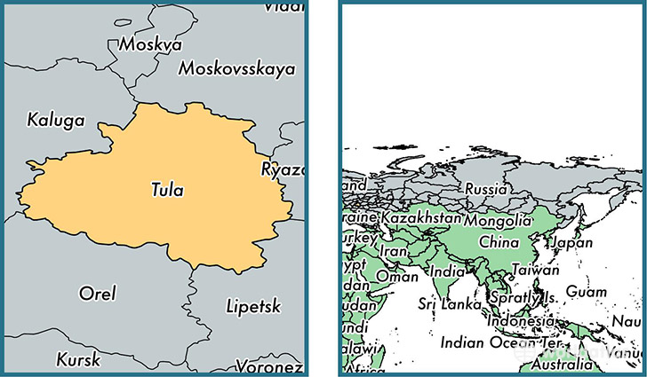 Location of administrative region of Tula Oblast on a map