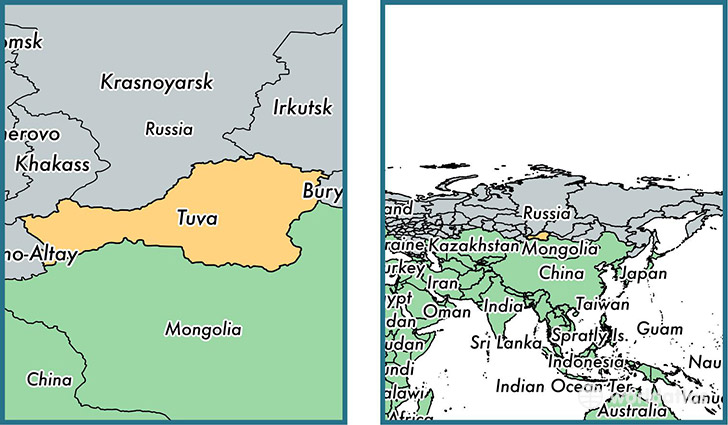 Location of republic of Tuva on a map