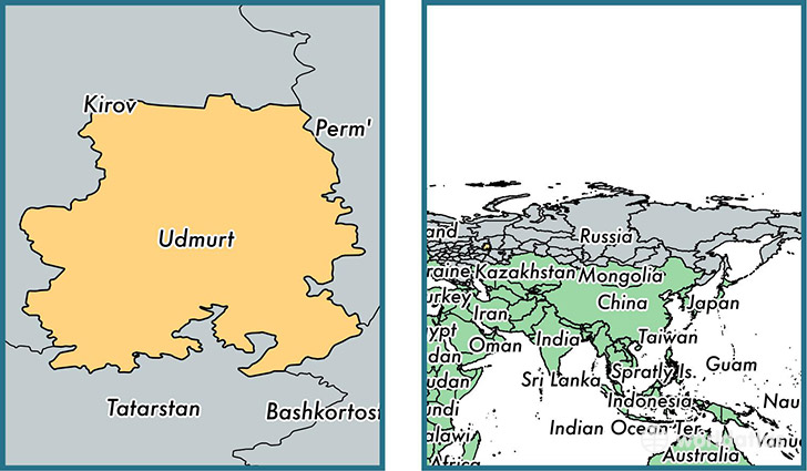 Location of republic of Udmurtia on a map