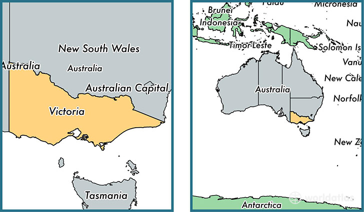 Location of state of Victoria on a map