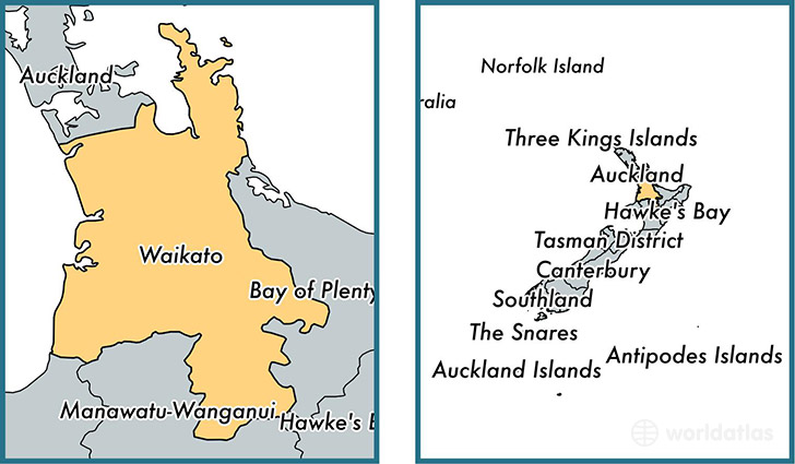 Location of regional council of Waikato on a map