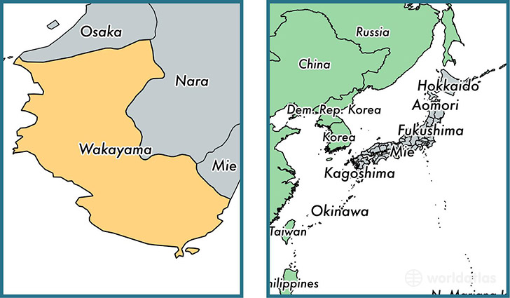 Location of prefecture of Wakayama on a map