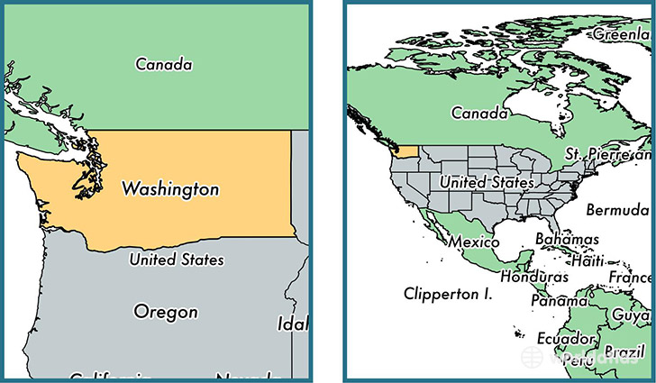 Location of state of Washington on a map
