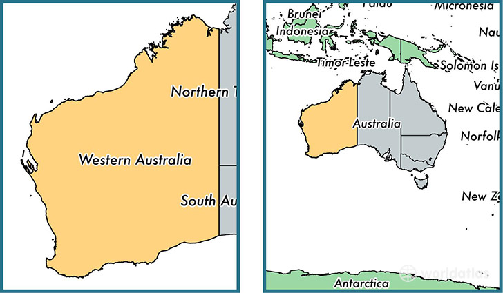 Location of state of Western Australia on a map