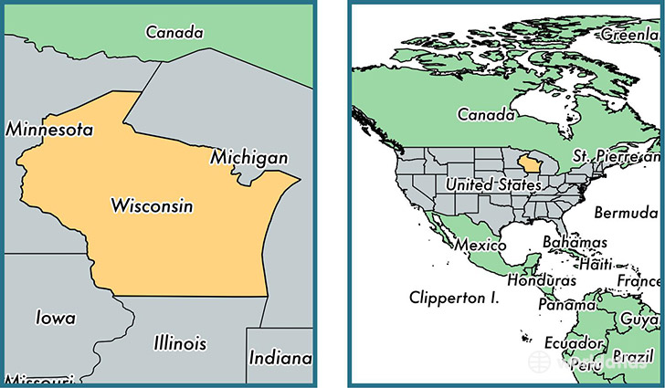 Where is wisconsin state where is wisconsin located in the world location of state of wisconsin on a map gumiabroncs Images