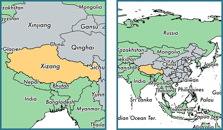 Location of autonomous region of Xizang (Tibet Autonomous Region) on a map