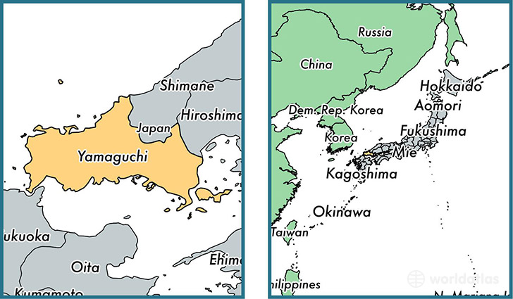 Location of prefecture of Yamaguchi on a map