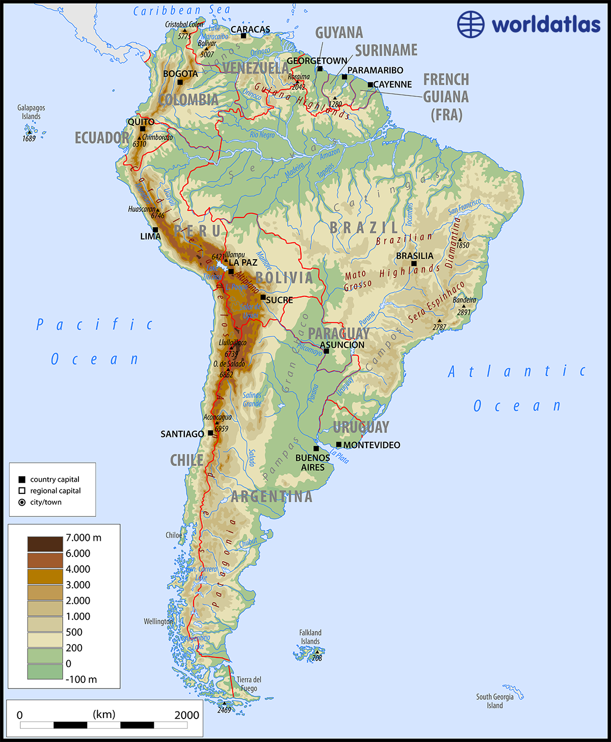 A Map Of South America South America