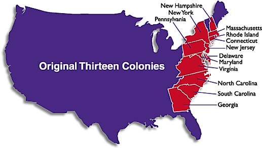 Map showing the original 13 colonies in the United States