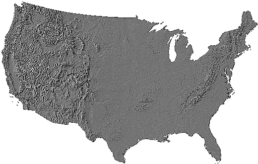 Relief map of continental United States