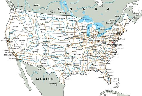 Map showing major roads in the United States