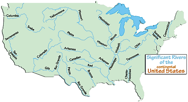 Map of the US mainland with its major rivers and labels