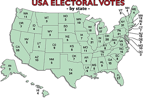 Map of US states and their number of electoral college votes