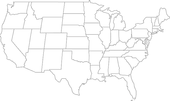 Outline map of the continental US with state borders