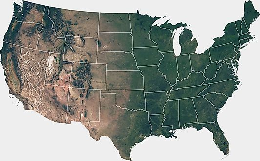 Satellite image of the United States mainland with state borders
