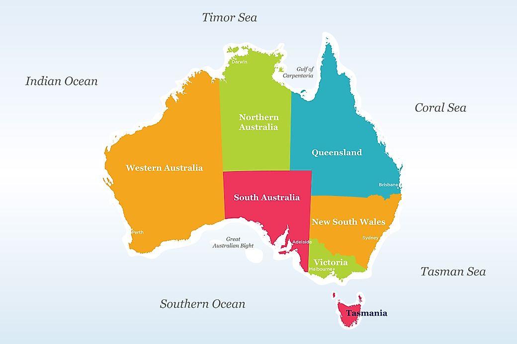 Map Of The States Of Australia.The States Of Australia Worldatlas Com