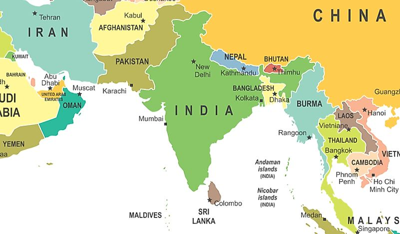 Map Of The South Asia.South Asia Constituent Countries And Their Populations And