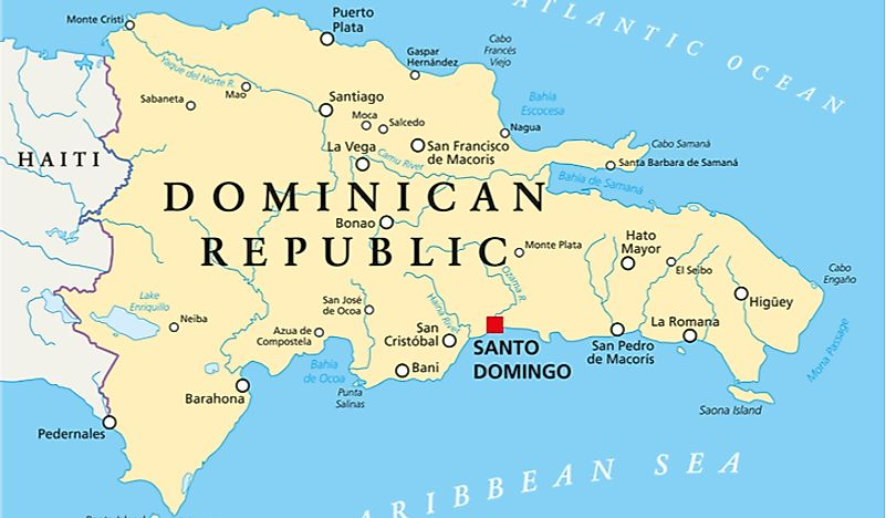 Which Countries Border The Dominican Republic? - WorldAtlas.com on cancun world map, grenada world map, indonesia world map, cuba world map, ecuador world map, guatemala world map, haiti world map, jamaica world map, aruba world map, panama world map, peru world map, bahamas world map, honduras world map, philippines world map, portugal world map, caribbean map, mexico world map, st. lucia world map, samoa world map,