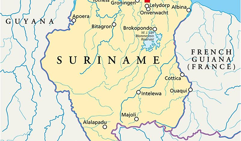 Which Countries Border Suriname?