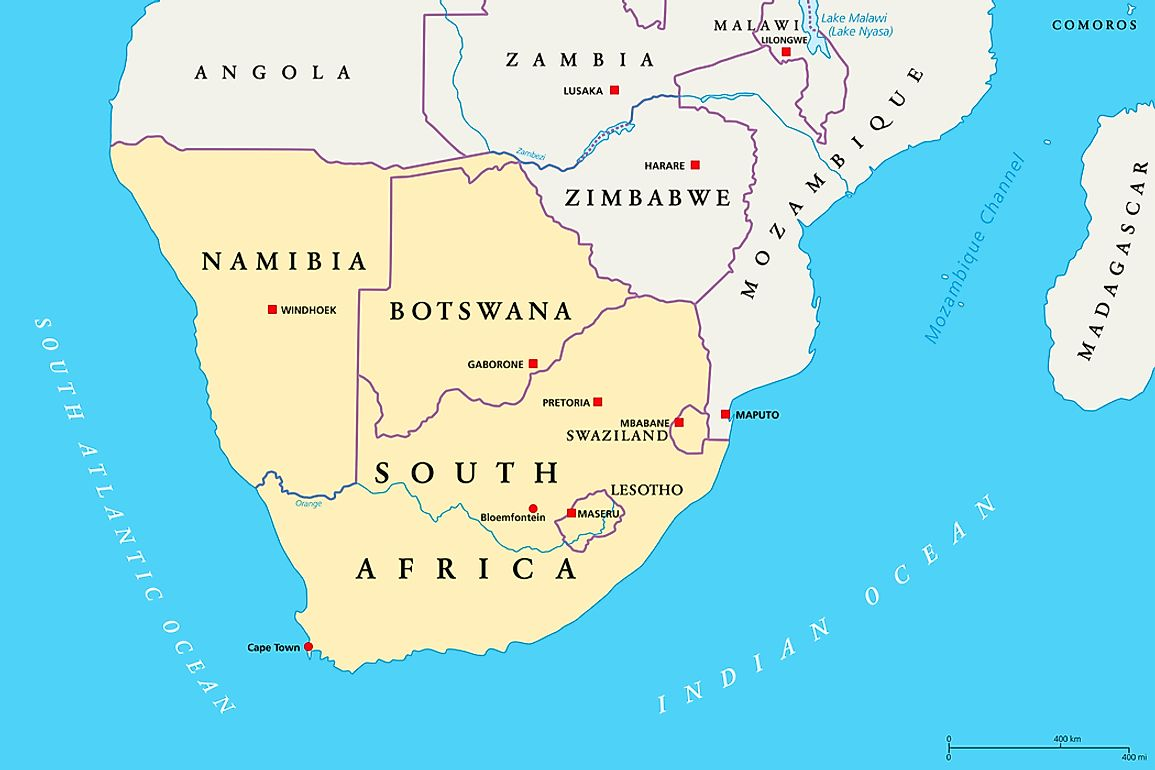 Map Of South Africa And Lesotho.Which Countries Are Part Of Southern Africa Worldatlas Com