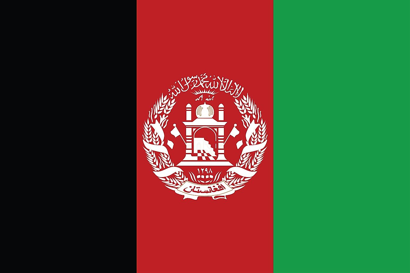 The National Flag of Afghanistan, a tricolor featuring three equal vertical bands of black (hoist side), red, and green.