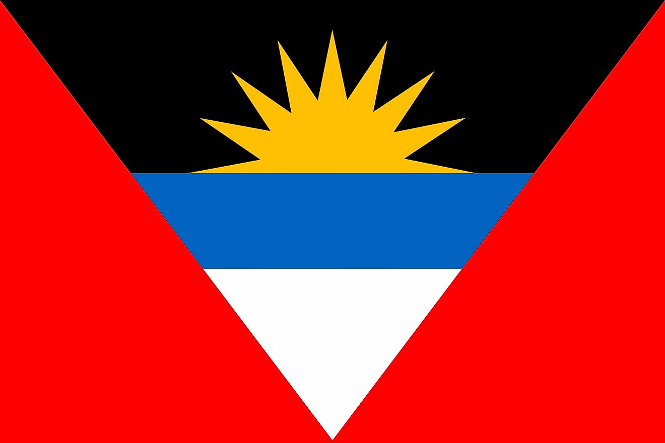 The national flag of Antigua and Barbuda is designed as a horizontal rectangle and its background is segmented into three inverted triangles.