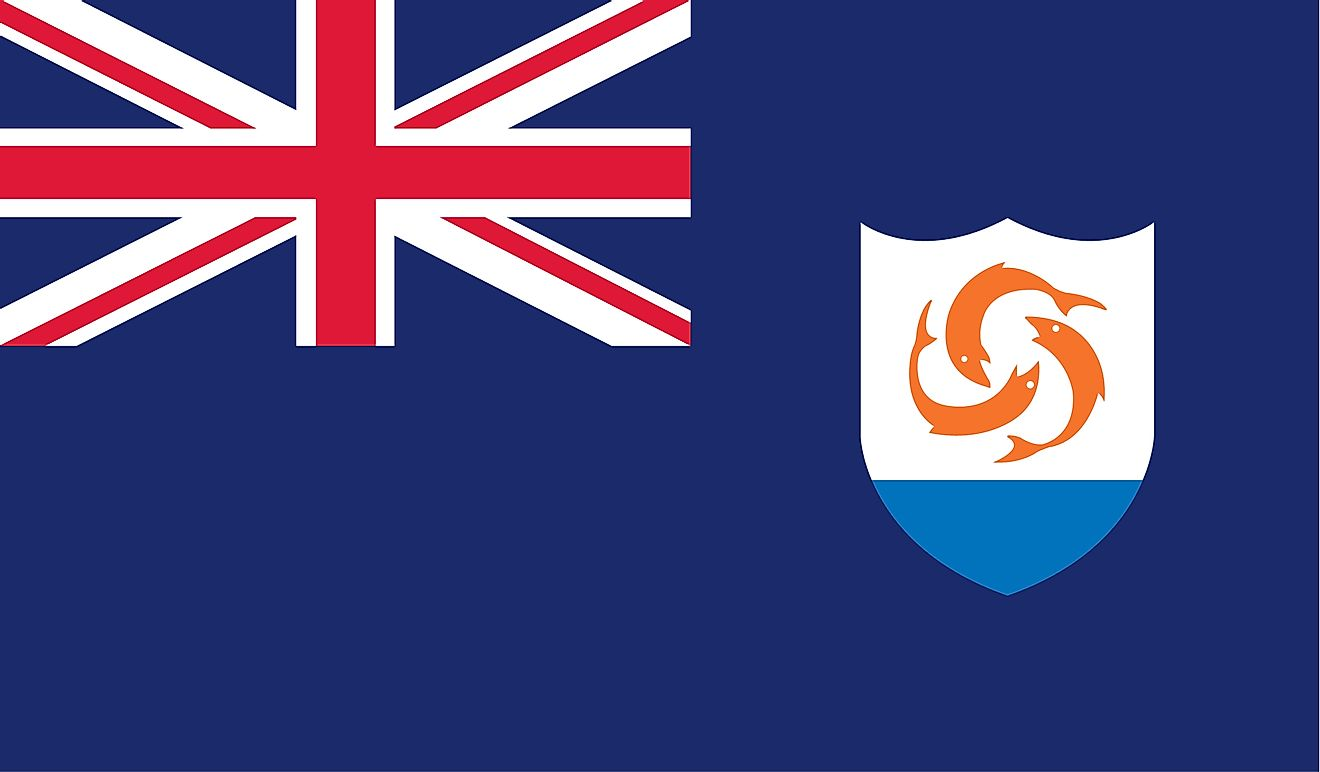 As an overseas territory of the United Kingdom, the flag of Anguilla consists of a Blue Ensign with the flag of the UK in the upper hoist-side quadrant.