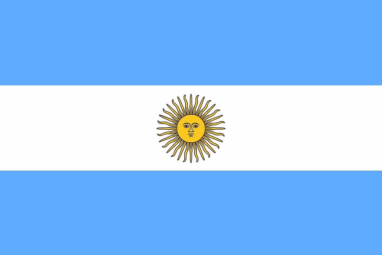 The Argentine Flag (La Bandera) has three equal horizontally-running bands of light-blue, white, and sky blue colors arranged from top to bottom.