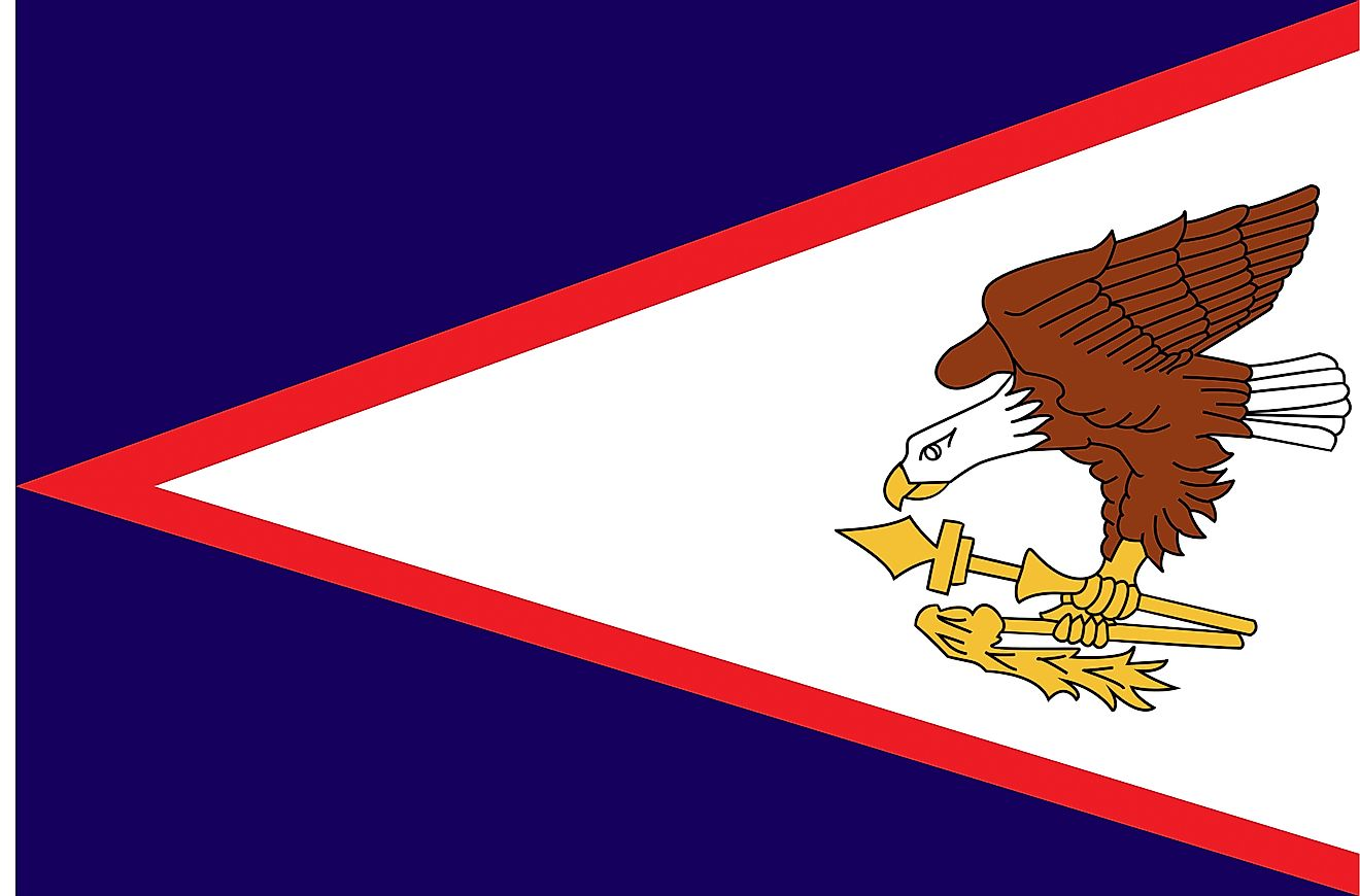 The Flag of American Samoa features a blue background with a white isosceles triangle edged in red containing a bald eagle