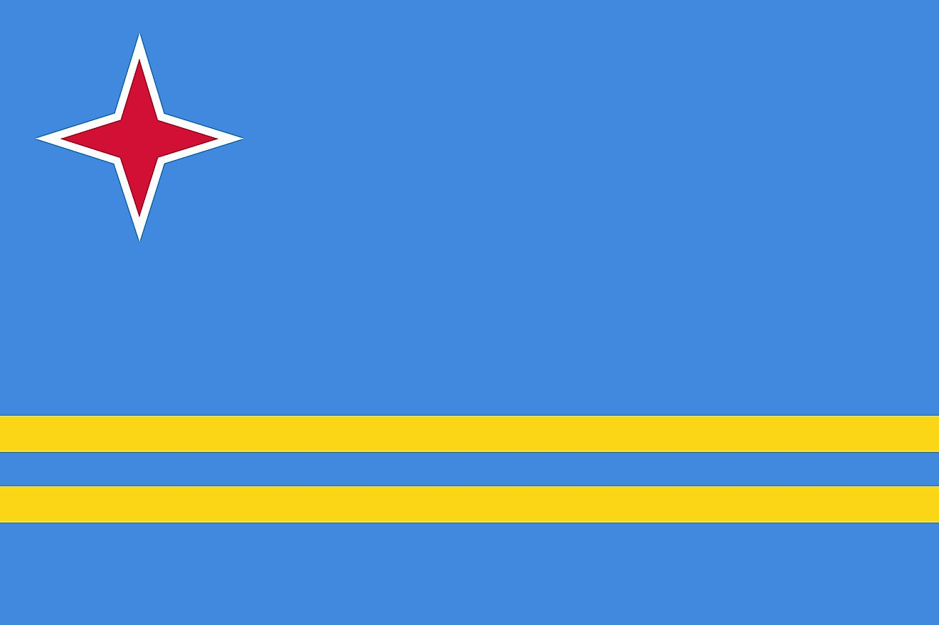 Aruba's Flag (BANDERA) is light blue in color and features two narrow, horizontal, yellow stripes across the lower portion  and a red, four-pointed star outlined in white in the upper hoist-side corner.