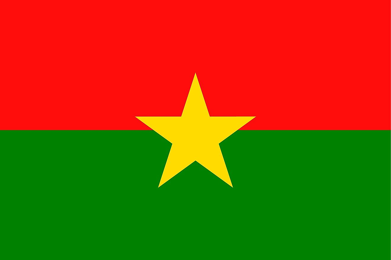 The National Flag of Burkina Faso featuring two equal horizontal bands of red (top) and green with a yellow five-pointed star in the center.
