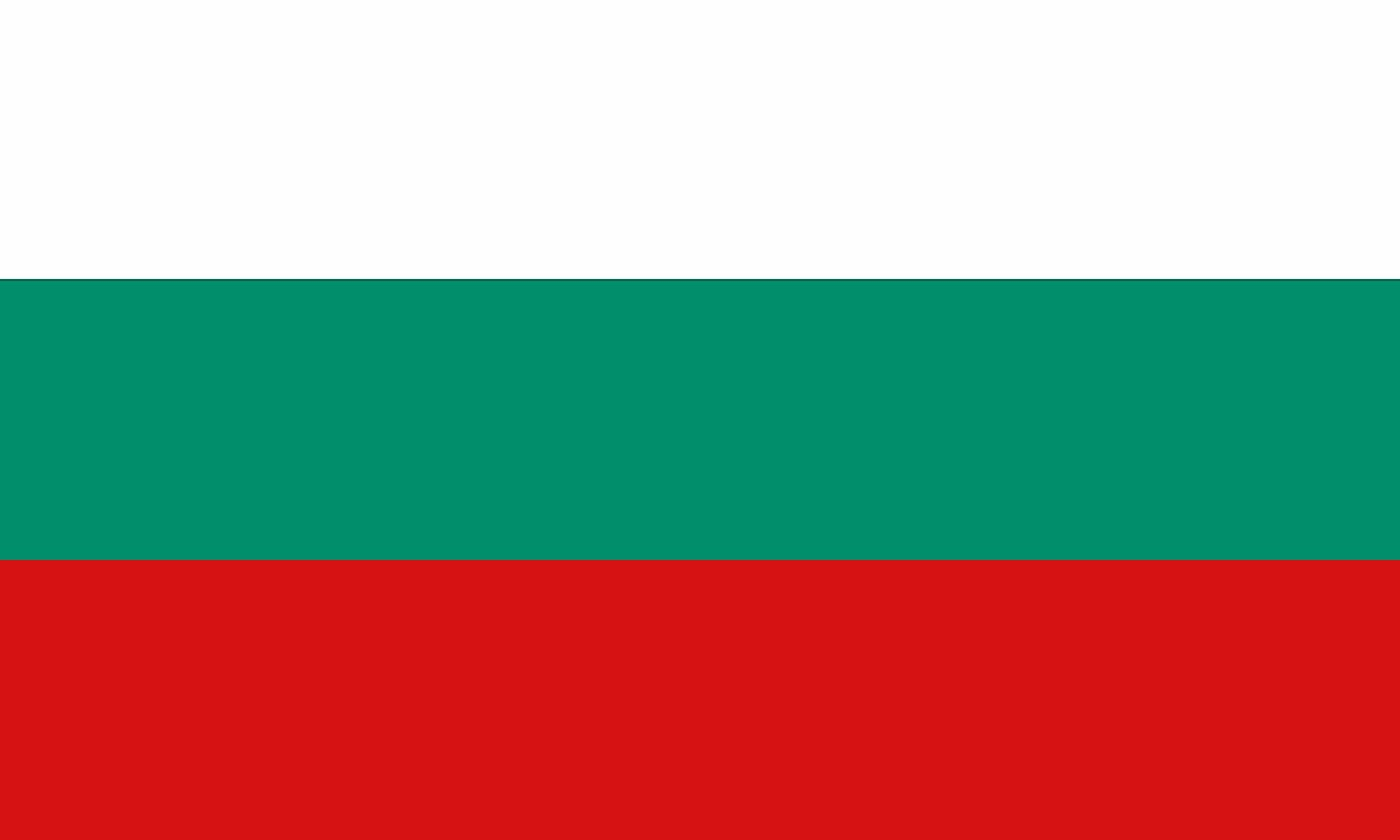The National Flag of Bulgaria is a tricolor featuring three equal horizontal bands of white (top), green, and red.